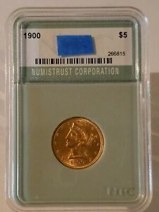 1900 $5 GOLD LIBERTY HEAD HALF EAGLE IN A NTC HOLDER