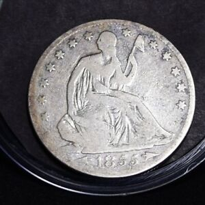 1855 S LIBERTY SEATED HALF DOLLAR   VG  DETAILS  32353