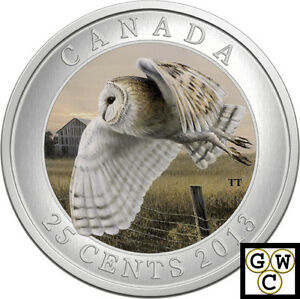 Click now to see the BUY IT NOW Price! 2013 'BARN OWL' COLORIZED 25 CENT COIN OVERSIZED  13257