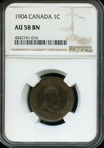 1904 CANADA 1C NGC AU 58 BN ABOUT UNCIRCULATED 58 BROWN  CANADIAN 1C COIN FC732