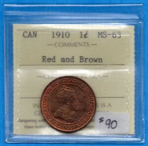 CANADA 1910 1 CENT ONE LARGE CENT COIN   ICCS MS 63 RED & BROWN