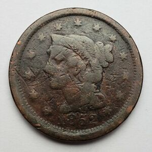 1852 BRAIDED HAIR LARGE CENT POOR