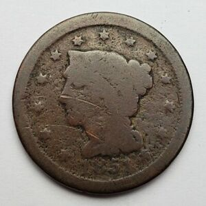 1851 BRAIDED HAIR LARGE CENT POOR