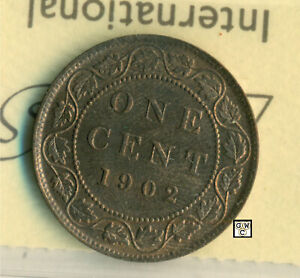 ICCS CANADA 1902   1CENT COIN ; MS 63 ; RED & BROWN  ; CERT. NO.   XDU 745