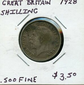 1928 GREAT BRITAIN ONE SHILLING SILVER COIN  FK134