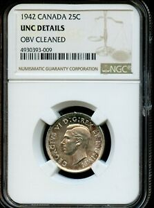 1942 CANADA 25C NGC UNC DETAILS OBV CLEANED CANADIAN 25C COIN FG822