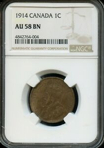 1914 CANADA 1C NGC AU 58 BN  ABOUT UNC 58 BROWN  CANADIAN 1C COIN FD14