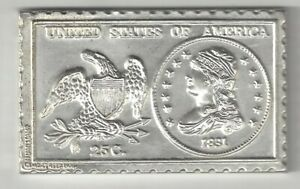 1831 U.S. LIBERTY BUST QUARTER TYPE IV 25 CENTS NUMISTAMP MEDAL COIN MORT REED