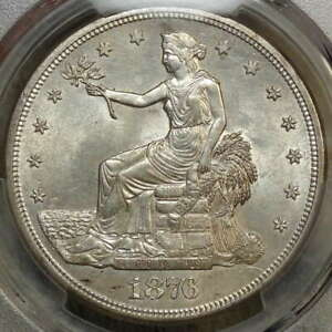 1876 S TRADE DOLLAR UNCIRCULATED PCGS MS 61 FLASHY WHITE TYPE COIN
