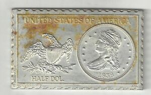 1838 U.S. CAPPED BUST HALF DOLLAR 50 CENTS NUMISTAMP MEDAL COIN MORT REED 1975