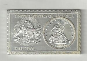 1853 U.S. SEATED LIBERTY HALF DOLLAR 50 CENTS NUMISTAMP MEDAL COIN MORT REED