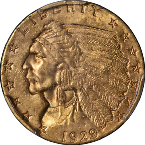 1929 INDIAN GOLD $2.50 PCGS MS63 GREAT EYE APPEAL STRONG STRIKE