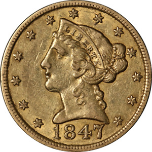 1847 P NO MOTTO LIBERTY GOLD $5 REPUNCHED DATE CHOICE XF/AU STRONG STRIKE