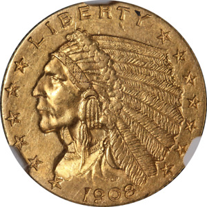 1908 INDIAN GOLD $2.50 NGC MS62 NICE EYE APPEAL NICE LUSTER