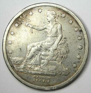 1877 CC TRADE SILVER DOLLAR T$1   XF DETAILS  EF     CARSON CITY COIN
