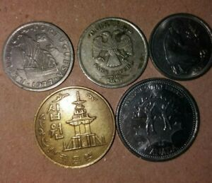 LOT2 OF 5 MIXED VINTAGE WORLD COINS A UNIQUE SMALL COLLECTION