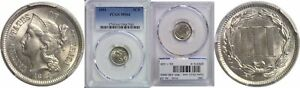 1881 NICKEL THREE CENT PIECE PCGS MS 64