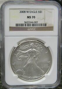 2008 W BURNISHED SILVER EAGLE NGC MS70