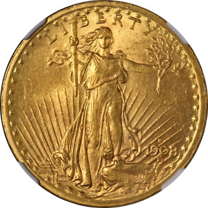 1908 D SAINT GAUDENS GOLD $20 NO MOTTO NGC MS62 NICE EYE APPEAL NICE STRIKE