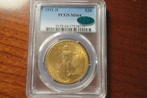1911 D $20 SAINT GAUDENS GOLD DOUBLE EAGLE  PCGS MS 64 CAC APPROVED