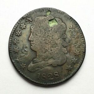 1828 CLASSIC HEAD HALF CENT HOLED