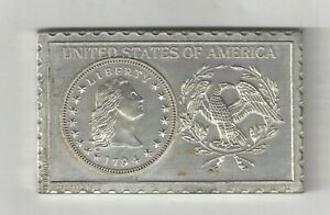 1794 U.S. FLOWING HAIR HALF DIME NUMISTAMP MEDAL COIN MORT REED 1976 PLAQUE