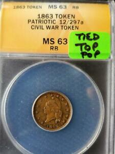 Click now to see the BUY IT NOW Price! TONED TIED TOP POP 1863 PATRIOTIC 12/297A CIVIL WAR TOKEN MS 63 RB  SHIPS FREE