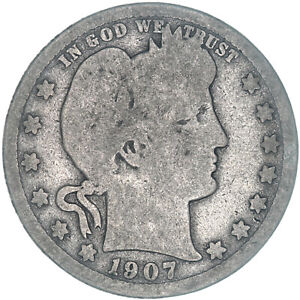 1907 D BARBER QUARTER 90  SILVER ABOUT GOOD AG