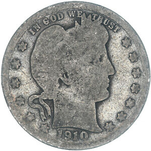 1910 BARBER QUARTER 90  SILVER ABOUT GOOD AG