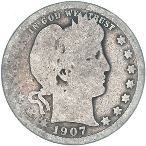 1907 BARBER QUARTER 90  SILVER ABOUT GOOD AG