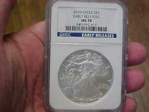 2010 US SILVER EAGLE 1 OZ SILVER DOLLAR NGC MS70 EARLY RELEASES REGISTRY PERFECT