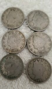 QTY 6 LIBERTY HEAD COINS 1889  2 1901  1904 5 CENT US COIN LOT UNGRADED