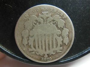 1870 SHIELD NICKEL OBVERSE OFF CENTER  PLEASE SEE IMPORTANT NOTE BELOW