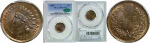 1868 INDIAN HEAD CENT PCGS MS 64 RB CAC