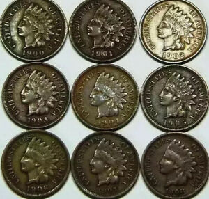 1900   1908 INDIAN HEAD CENT 1C SHORT SET HIGHER GRADE COINS NICE PENNY L18