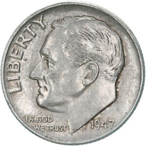1947 ROOSEVELT DIME 90  SILVER ABOUT UNCIRCULATED AU
