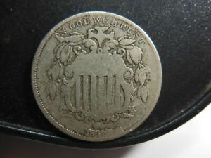 1867 RAYS SHIELD NICKEL LARGE CUD AND RE CUT DATE SCUFFS ON REVERSE