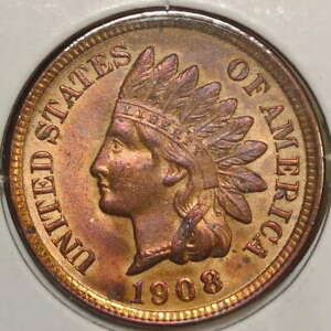 1908 INDIAN CENT CHOICE UNCIRCULATED RED BROWN UNC     0922 02