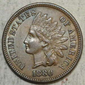 1880 INDIAN CENT CHOICE ALMOST UNCIRCULATED NICE COLOR   0922 01