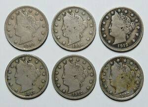 LIBERTY HEAD V NICKEL 6 COIN LOT 1910 AND 1912 FINE