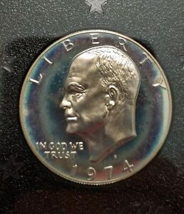 1974 S SILVER PROOF EISENHOWER DOLLAR   TONED