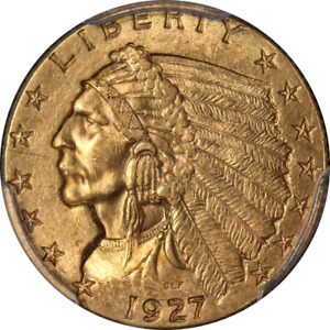 1927 INDIAN GOLD $2.50 PCGS MS63 NICE EYE APPEAL NICE LUSTER STRONG STRIKE