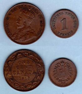 LOT OF 2 OLD FOREIGN COINS   CANADA  1918  LARGE CENT   GERMANY  1875G  PFENNIG