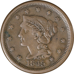 1845 LARGE CENT GREAT DEALS FROM THE EXECUTIVE COIN COMPANY