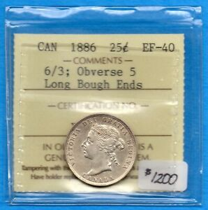 CANADA 1886 6/3 OBV 5 25 CENTS TWENTY FIVE CENT SILVER COIN   ICCS EF 40