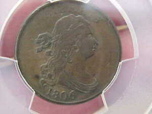 1806 DRAPED BUST HALF CENT PCGS VF35 C 1 SMALL 6 NO STEMS ROTATED REVERSE TONED