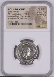 Click now to see the BUY IT NOW Price! SYRACUSE SICILY TETRADRACHM BOEHRINGER 410 NGC CH VF 5/5 5/5 INCREDIBLY
