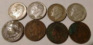 UGLY CULL DAMAGED 1884 1888 1894 1898 INDIAN HEAD ONE CENT PENNY & SILVER DIMES