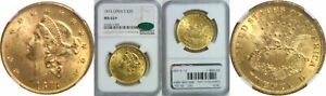1873 $20 GOLD COIN NGC MS 62  CAC OPEN 3