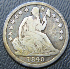 1840 SEATED LIBERTY HALF DIME TYPE 2   STARS WITH NO DRAPERY ON OBVERSE